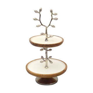 La Mesa 2 Tier Cake Stand Enamel And Floral Decoration Silver