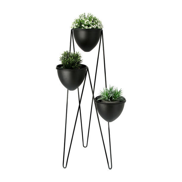 Planter Set Of 3 With Stand Metal Black image number 1
