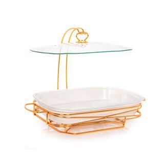 """Rectangle Casserole With Candle Stand 16"""""""