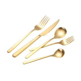 La Mesa Majestic Cutlery Set 20 Pieces Matte Gold