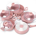 Alberto Granite Cookware Set 9 Pieces With Glass Lid Pinkstone Color image number 2