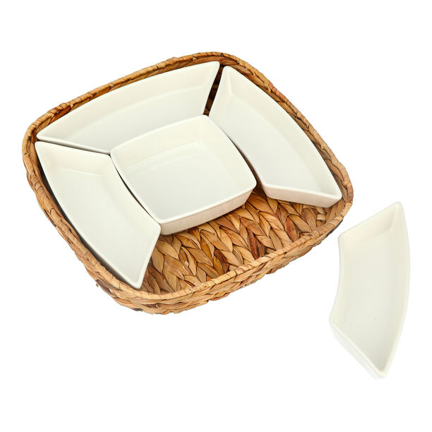 5Pcs Section Tray With Sea Grass Basket image number 2
