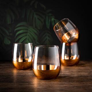 Glass Tumblers Bottom Plating Gold Set of 4