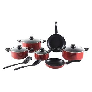 Alberto Non Stick Cookware Set 12 Pieces Red Color