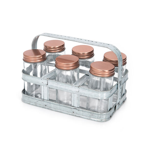 Alberto 6 Pieces Glass Mini Spice Jars With Copper Clip Lid And Metal Tray image number 0