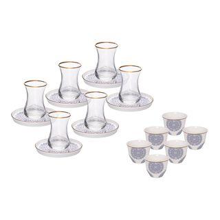 La Mesa Tea And Coffee Set 18 Pieces Blue Metalic Effect