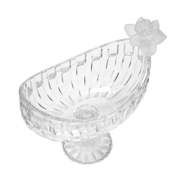 Glass Flower Fruit Bowl 1 Pc Crystal White image number 1