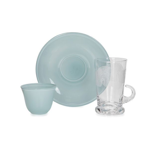 18Pc Arabic Tea And Coffee Set Glass Colorback Blue image number 2
