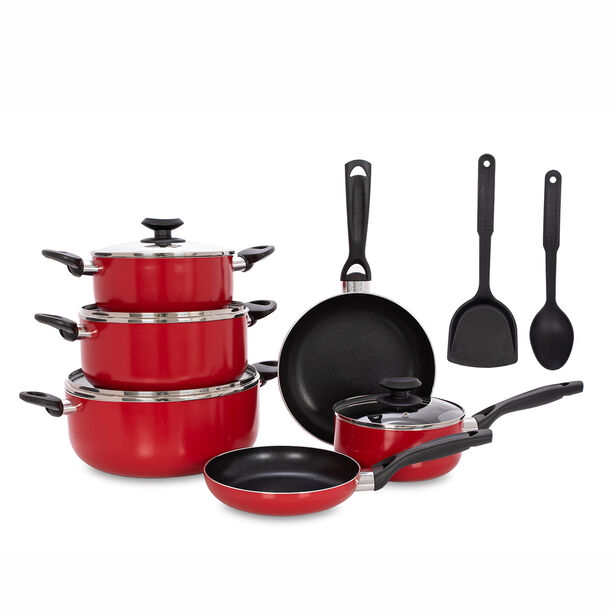 Betty Crocker 12Pcs Non Stick Cookware Set With Glass Lid image number 1