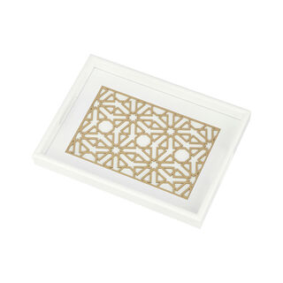 Wood Tray Pp 1Pc White Gold