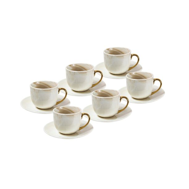 La Mesa Coffee Set Marble With Gold Handle 12 Pieces image number 0