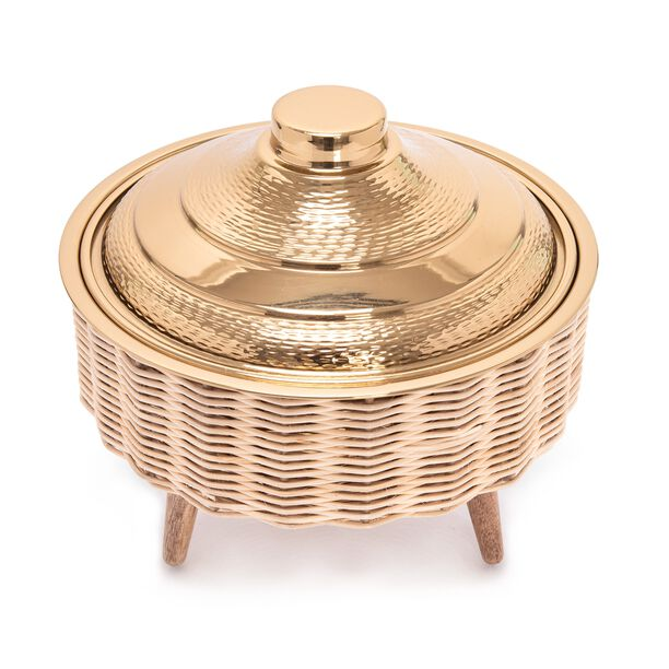 Large Bamboo Basket With Jar Gold image number 2
