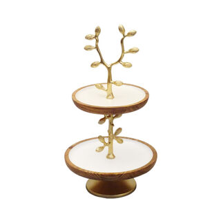 La Mesa 2 Tier Cake Stand Enamel And Floral Decoration Gold
