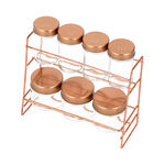 Alberto 7 Pieces Glass Spice Jars With Copper Clip Lid And Metal Stand image number 2