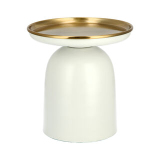 Side Table Metal White Base Gold Top