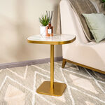 Side Table Gold Base Black White&Green Marble image number 0