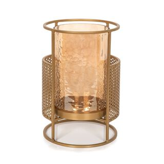Metal And Glass Candle Holder Gold