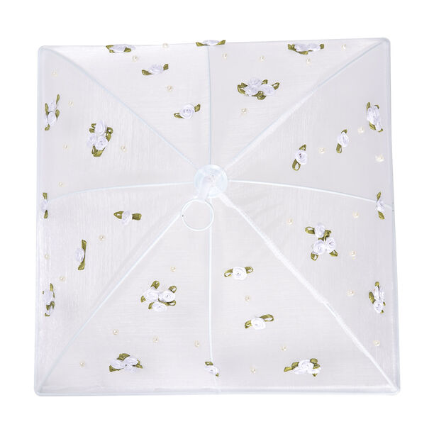 Chef Classics Fold Able White Food Cover With Roses image number 2