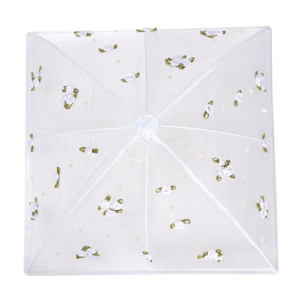 غطاء طعام قابل للطي لون أبيض بزهور  image number 2