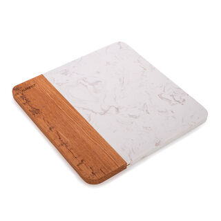 Alberto Square Marble Cutting And Serving Board With Wooden Hand