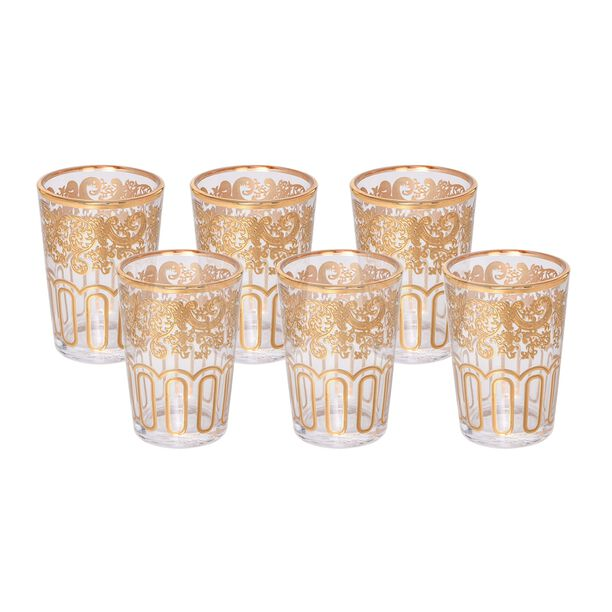 Moroccan Tea Glass Transparent Real Gold Vol:6Oz image number 0