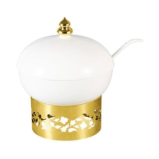 La Mesa Majestic Deep Round Tureen With Gold Stand