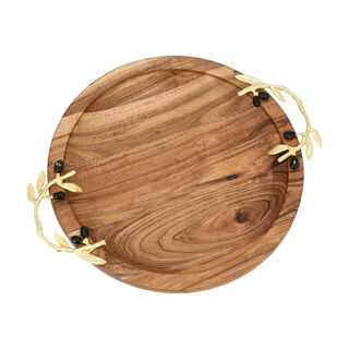Wooden Round Dish With Olive Handle Xlarge 30Cm