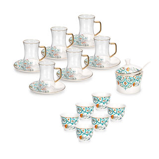 21 Pcs Porcelain Tea And Coffee Set Green