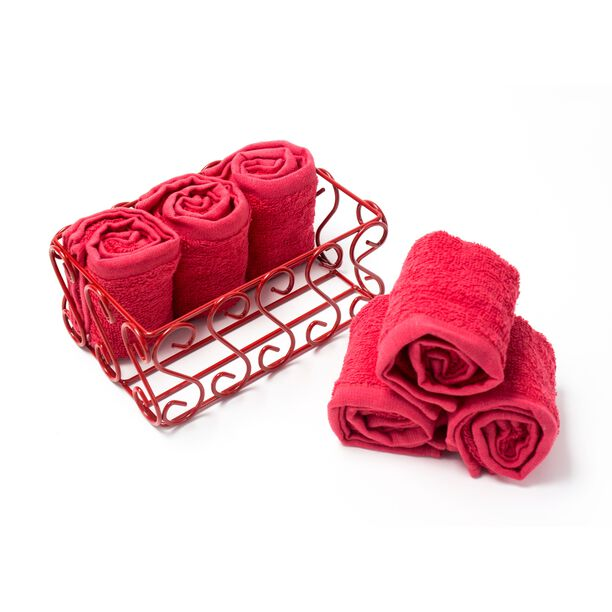 6 Pieces Cotton Face Towels Packed In Iron Basket 30X30 Cm image number 1