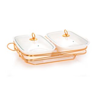 """Twin Rectangle Casserole With Candle Stand 13"""""""