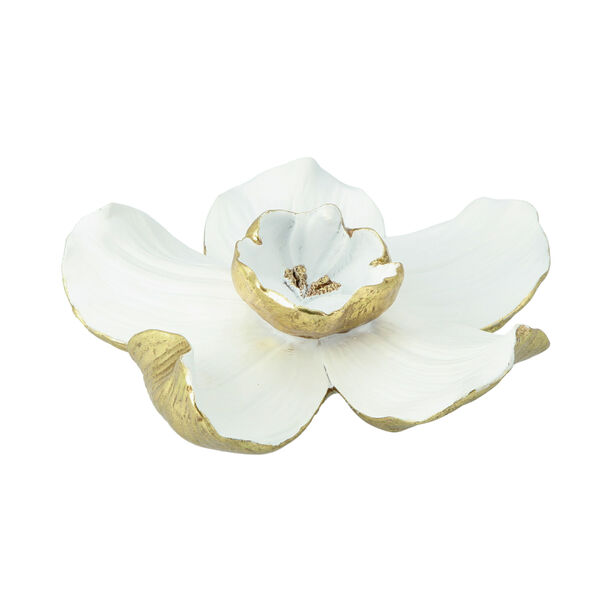 Wall Accent Orchid Flower White And Gold  image number 1