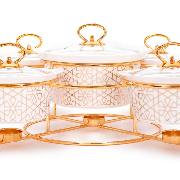 5 Pcs Round Food Warmer With Stand image number 2