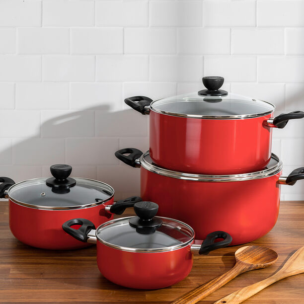 Alberto Nonstick Cookware Set   W/Glass Lid  8Pcs Set  Red Color (18/22/26/30Cm) image number 2