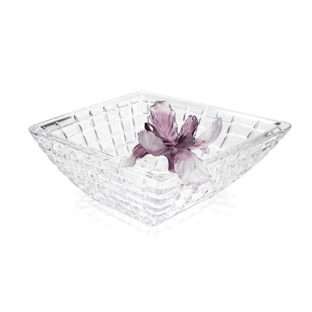 La Mesa Glass Bowl With Violet Crystal Flower 31Cm image number 0