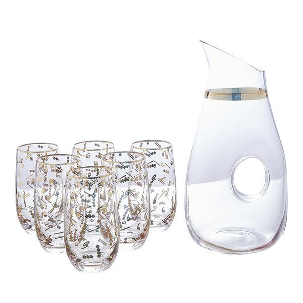 7 Pcs Glass Drink Set Tashkeel Pattern Gold image number 0