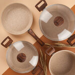 Alberto Granite Series 7 Pieces Cookware Set Wood Stone image number 2