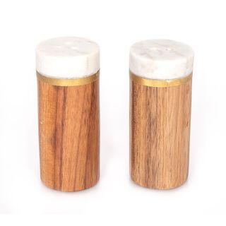 2 PCS MARBLE CYLINDRICAL SALT & PEPPER