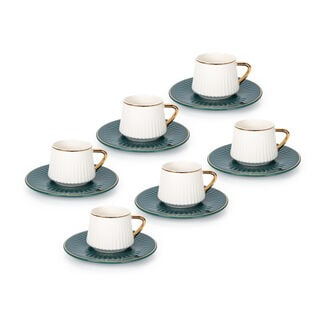12Pcs Porcelain Turkish Coffee Emboss , Dark Green