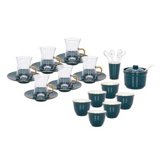 Zukhroof 28 Pieces Porcelain Tea And Coffee Set Solid Dark Green Serve 6