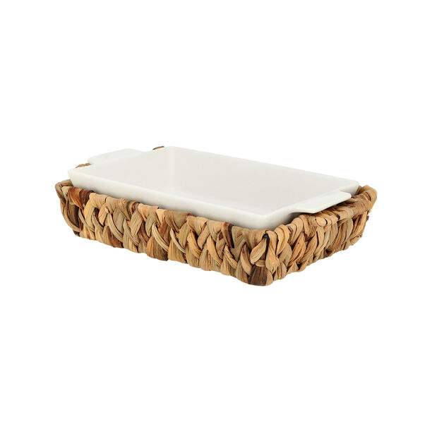 Porcelain Rectangular Dish With Rattan Basket image number 0