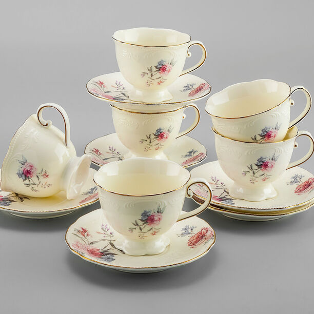 La Mesa 12 Pieces Tea Cup And Saucers \ Ivory image number 2