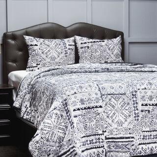 Cottage 3 Pieces Microfiber Comforter King Size Dark Blue