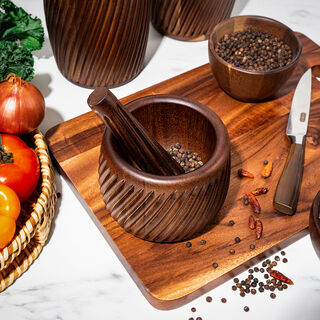 2 Pieces Acacia Wood Mortar And Pestle Set Assorted Colors