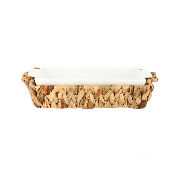 Porcelain Rectangular Dish With Rattan Basket image number 1