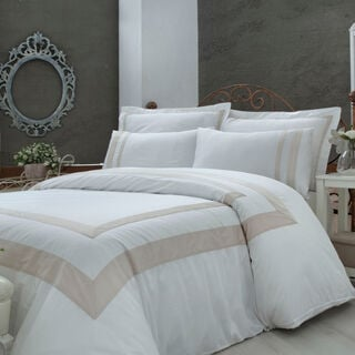 Boutique Balanch 5 Pieces Cotton Duvet Cover 300 Tc ,Frame White 260X240 Cm King
