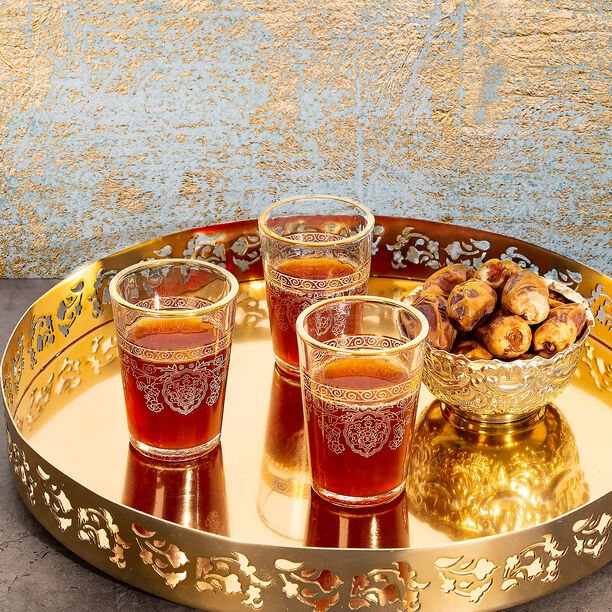 Moroccan Tea Glass 6 Pieces Gold image number 2
