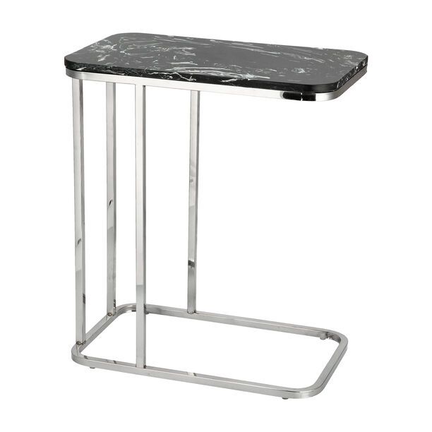 Side Table Silver Leg Black Top image number 2
