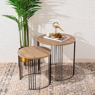 طقم طاولات جانبية مصنوعة من الخشب من قطعتين
