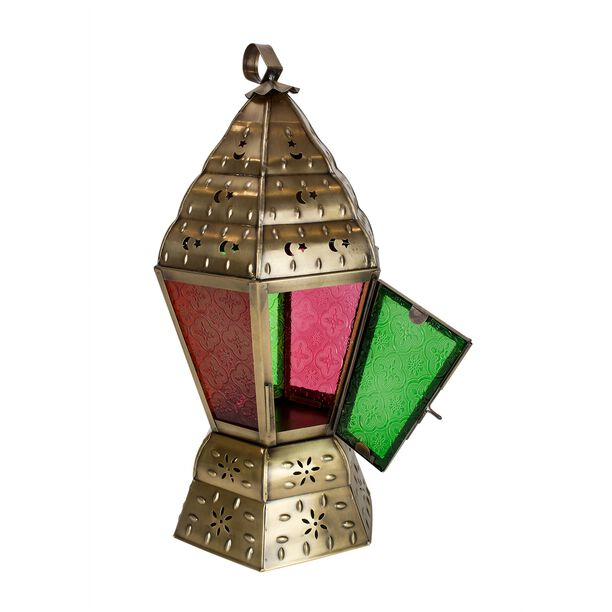 Egypytian Lantern Metal And Glass Colored image number 1