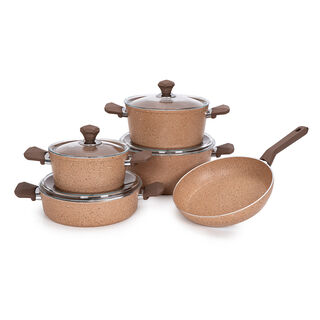 Pentola 9 Pcs Granite Cookware Set Brown 20-24-28 Pot, 26 Low Pot, 26 Frypan